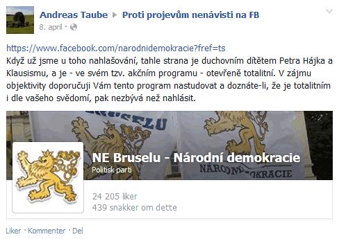 Andreas Taube ví jak na Klausismus. Holubice míru musí být příbuzná.