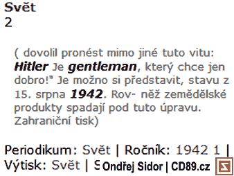 Hitler je Gentleman (Svět, 1942)