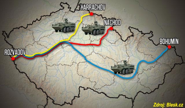 Předpokládaná trasa přesunu konvoje US Army