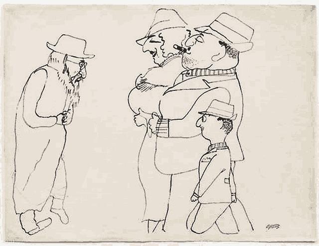 Karikatura newyorských Židů (George Grosz, 1935)
