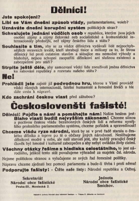 Jednota národní obce fašistické – leták
